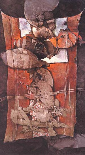 Rompecabezas de objetos taínos, 56x30 pulgs, acrílica sobre collage-tela, Dustin Muñoz, 2002