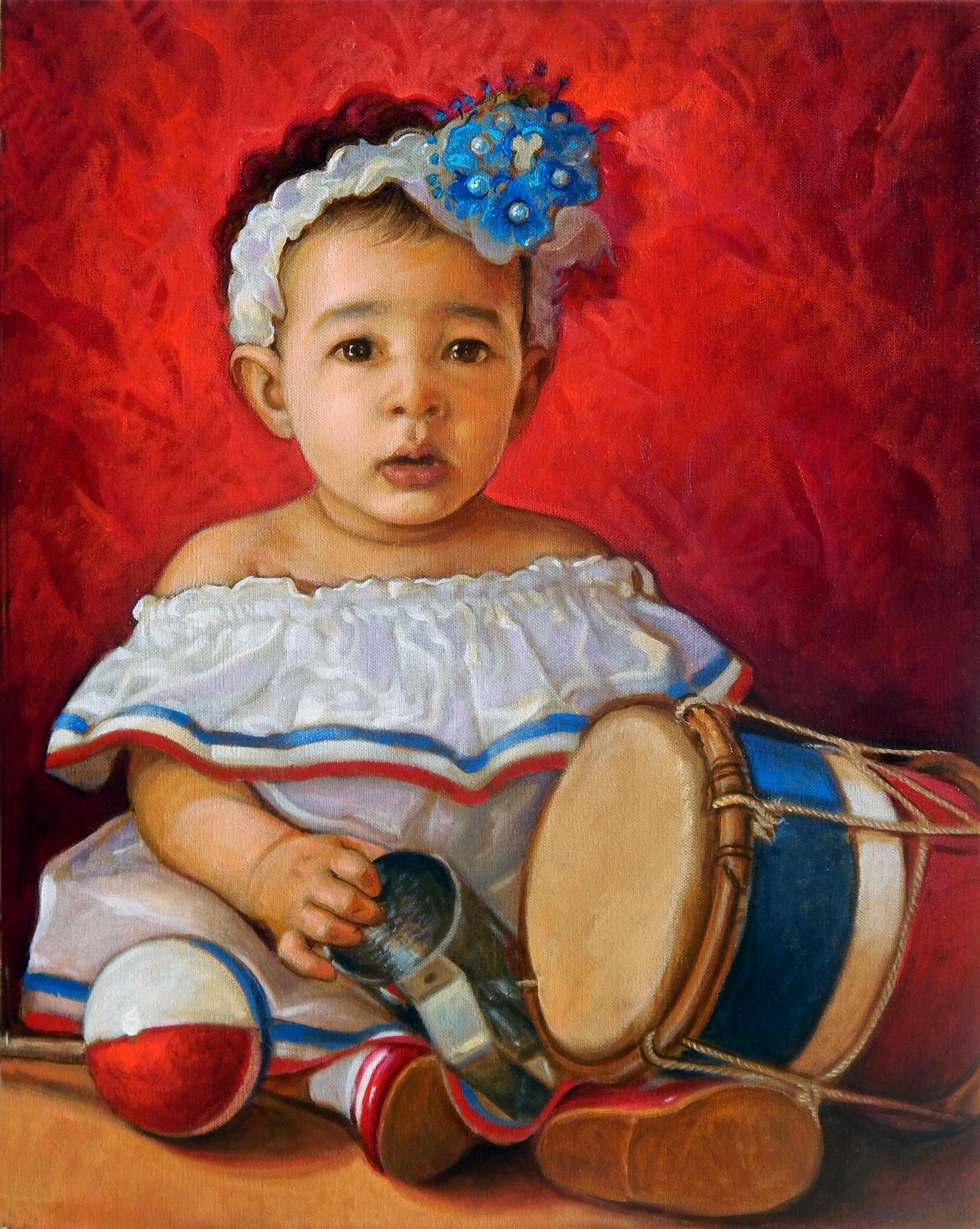"""Retrato de mi hija """"Sencillamente Paloma"""", 16x20 pulgs, Dustin Muñoz, 2014"""