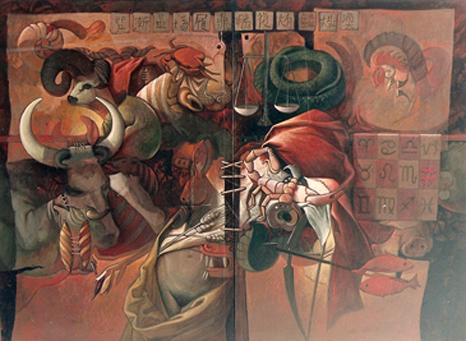 Signos zodiacales, 60x80 pulgs, acrílica sobre tela, Dustin Muñoz, 1996