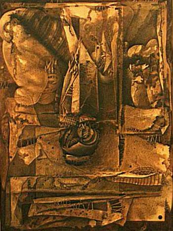 Símbolo de poder, 60x50 pulgs, acrílica sobre collage- tela, Dustin Muñoz, 1997