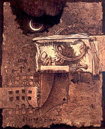 Símbolos del martirio, 30x24 pulgs, acrílica-collage sobre tela, Dustin Muñoz, 1998