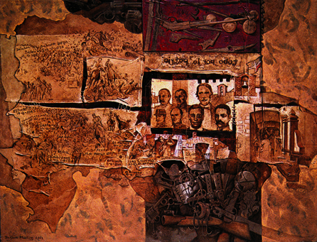 Todo por la patria, 60x80 pulgs, Dustin Muñoz, 2001. Identifica las guerras libradas por nuestros próceres en cada zona del mapa para lograr la independencia de República Dominicana