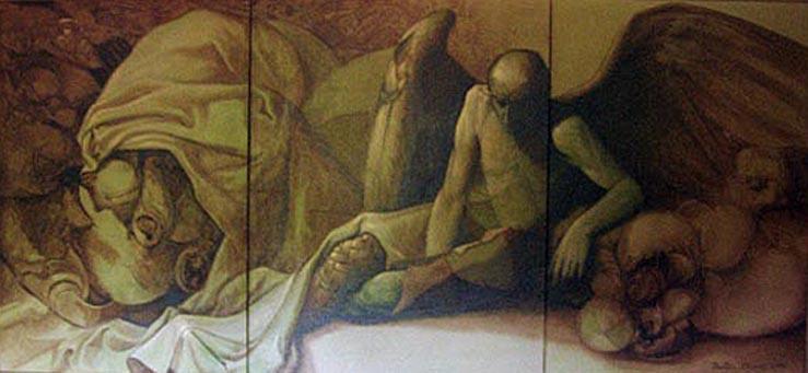 Un señor muy viejo de alas enormes -inspirado en el cuento-, 45x90 pulgs, Dustin Muñoz, 1997
