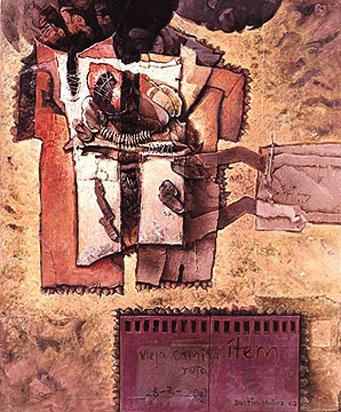 Vieja camisa rota, 60x50 pulgs, acrílica sobre collage-tela, Dustin Muñoz, 2002