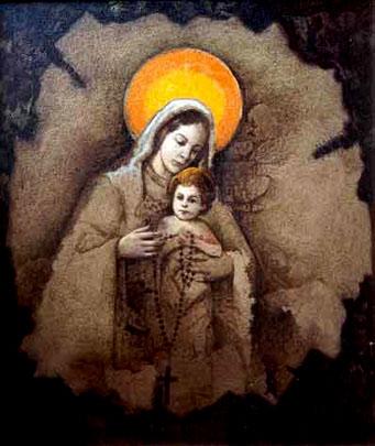 Virgen del Rosario, 24x20 pulgs, Dustin Muñoz, 2001