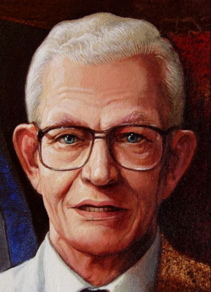 Detalle rostro retrato prof Juan Bosch, Expdte Rep. Dom., 90x40 pulgs, Dustin Muñoz, 2009