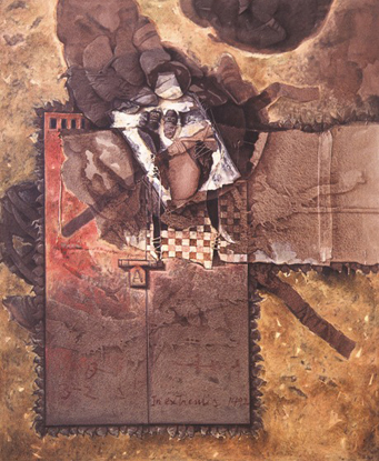 Amuletos, 60x50 pulgs, acrílica sobre collage y tela, Dustin Muñoz, 2002