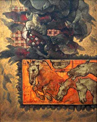 Caballos, 20x16 pulgs, Dustin Muñoz, 2001