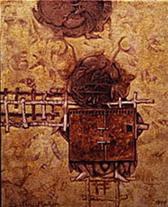 Cerca del futuro, 20x16 pulgs, acrílica sobre tela, Dustin Muñoz, 1999