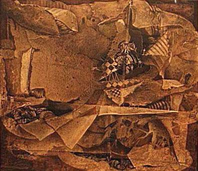 Código de apuesta, 50x55 pulgs, acrílica sobre collage-tela, Dustin Muñoz,1997