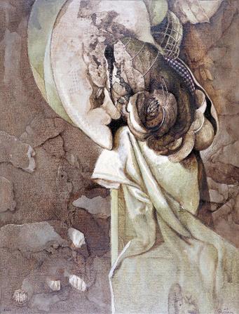Colgando en la prehistoria, 39x48 pulgs, acrílica sobre tela, Dustin Muñoz, 2002