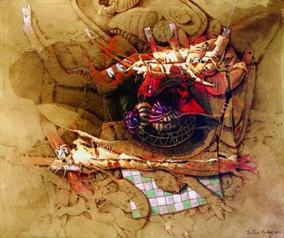 Cuando el recuerdo también es historia, 50x60 pulgs, acrílica sobre collage tela, Dustin Muñoz, 2006