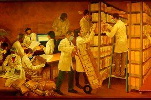 """Mural """"La cuidadosa y delicada misión del Archivo General de la Nación"""", Dustin Muñoz, ubicado en la Sala de Atención a Usuarios del AGN, 2016"""