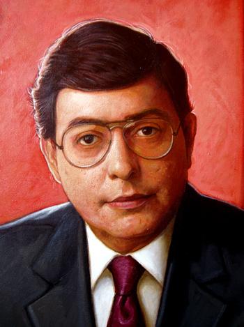 Detalle retrato Enriquillo Sánchez, 40x30 pulgs, Dustin Muñoz, 2012