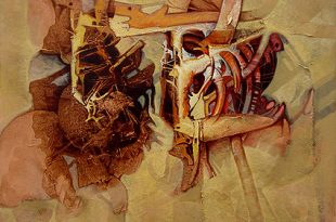 Diálogo, acrílica sobre collage-tela, 35x35 pulgs, Dustin Muñoz, 2009