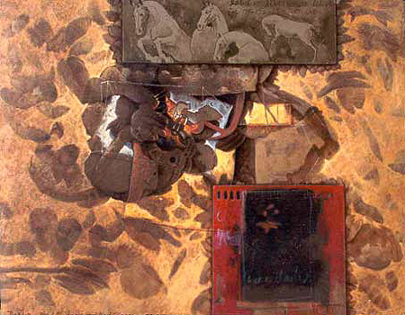 Equitación, 40x50 pulgs, Dustin Muñoz, acrílica sobre tela, Dustin Muñoz, 2001