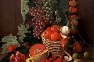 Bodegón frutas y cotorra, 40x36 pulgs, Dustin Muñoz