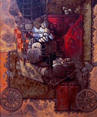 La caja de cristal, 24x20 pulgs, Dustin Muñoz, 2000
