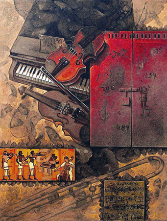La música, 40x30 pulgs, acrílica sobre tela, Dustin Muñoz, 2000