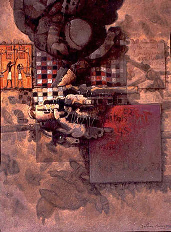 Mitos, 40x30 pulgs, acrílica sobre tela, Dustin Muñoz, 2001