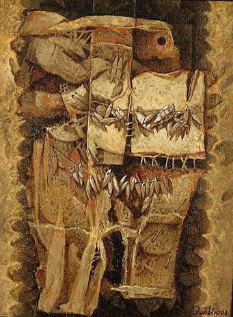 Momentos del pasado, 16x12 pulgs, acrílica sobre collage-tela, Dustin Muñoz, 2001