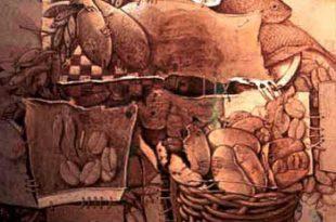 Multiplicación de panes y peces, 40x30 pulgs, Dustin Muñoz, 1998