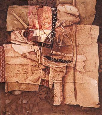 Nuestra herencia aborigen, 53x47 pulgs, acrílica sobre collage-tela, Dustin Muñoz, 2002