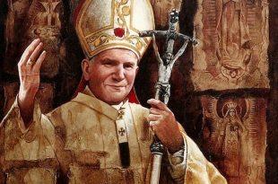 Papa Juan Pablo ll, 40x40 pulgs, Dustin Muñoz, 2001. Obra ubicada en la Nunciatura