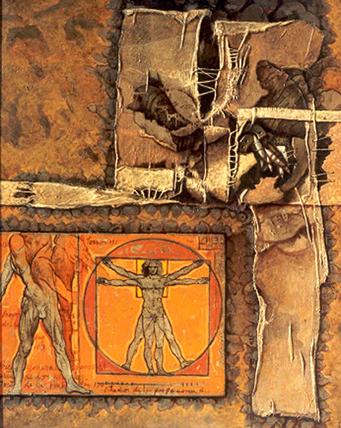 Renacimiento, 40x36 pulgs, acrílica-collage sobre tela, Dustin Muñoz, 2001