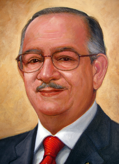 Detalle retrato Dr César Iván Feris Iglesias, 40x30 pulgs, Dustin Muñoz, 2011