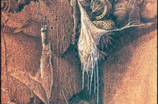 Secretos, 48x59 pulgs, acrílica sobre collage tela, Dustin Muñoz,1996