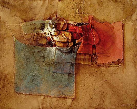 Siguiendo un cordel de recuerdos, acrilica sobre collage-tela, 60x75 pulg, 2009