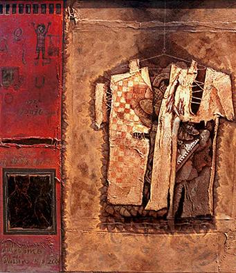 Vieja camisa rota, 50x40 pulgs, acrílica sobre collage, Dustin Muñoz, 2001