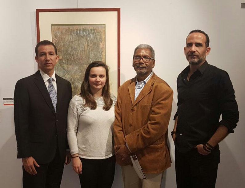 Los artistas visuales Dustin Muñoz, Gabino Rosario y José Pelletier junto a Carmen Figueroa, directora de la Galeria La Ferretería Eventos & Co.