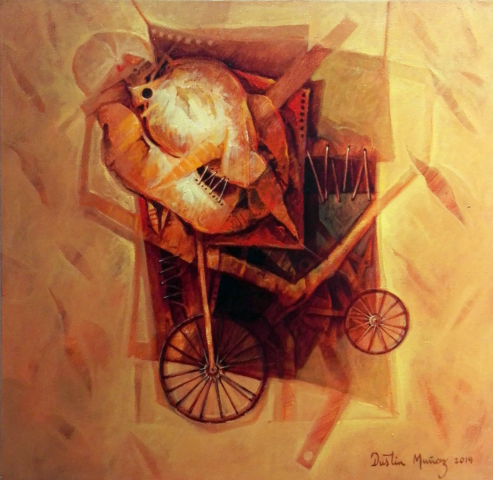 Huellas de un transporte superado II, 50x50 cms, 2014, Dustin Muñoz